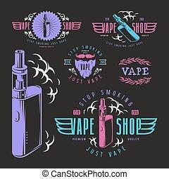 negozio, vape, etichette, sbarra, vapore