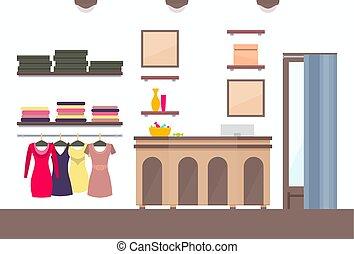 negozio, vario, sagoma, femmina, abbigliamento, voga
