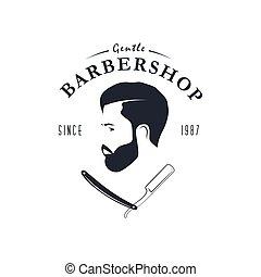 negozio, vendemmia, barbiere, logo.