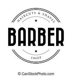 negozio, vendemmia, francobollo, barbiere, logotipo