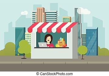 negozio, vendita dettaglio, facciata, vettore, illustrazione, appartamento, cartone animato, disegno, di, negozio, costruzione, su, strada città, storefront, con, venditore, persona, o, commessa, appresso, città, strada, immagine