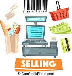 negozio, vendita, shopping, icone, articoli, vettore, vendita dettaglio