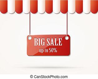 negozio, vendita, tetto, segno