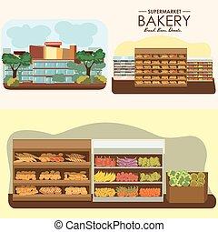 negozio, verdura, drogheria, set, mercato cibo, supermercato, dipartimenti, shelfs, panetteria, frutta, vettore, illustrazione, interno, prodotti, bread, negozio, fila