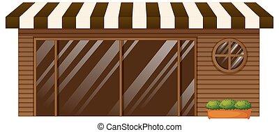 negozio, vetro, caffè, porta