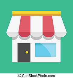 negozio, vettore, icona