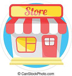 negozio, vettore, rotondo, icona