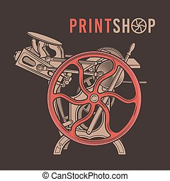 negozio, vettore, vecchio, illustration., letterpress, vendemmia, macchina, stampa, overprint, stampa, logo., design.