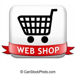 negozio, web, bottone