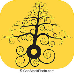 negro, árbol, Espiral