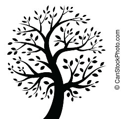 negro, árbol, icono