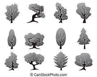 negro, árbol, iconos, conjunto