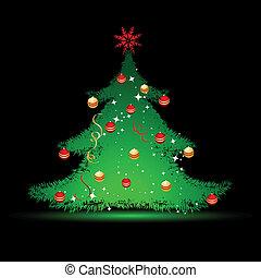 negro, árbol, navidad, plano de fondo