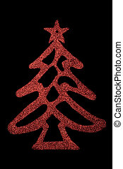 negro, árbol, navidad, plano de fondo, rojo