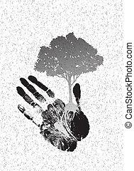 negro, árbol, silueta, en, handprint