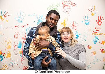 negro, él, mamá, padre, niño, amor, feliz, uso, bebé, family...