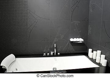 negro, 2, bañera
