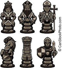 negro, 2, conjunto, artículos del ajedrez