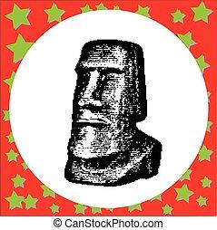 negro, 8-bit, moai, estatuas, en, el, rano raraku, volcán, en, isla de pascua, rapa nui, parque nacional, chile, vector, ilustración, aislado, blanco, plano de fondo