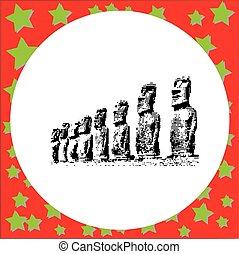 negro, 8-bit, negro, 8-bit, moai, estatuas, en, el, rano raraku, volcán, en, isla de pascua, rapa nui, parque nacional, chile, vector, ilustración, aislado, blanco, plano de fondo