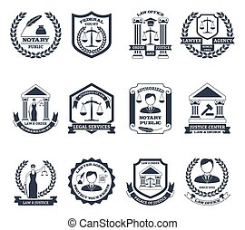 negro, abogado, logotipo, conjunto, blanco