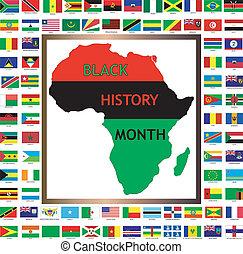 negro, africano, banderas, y