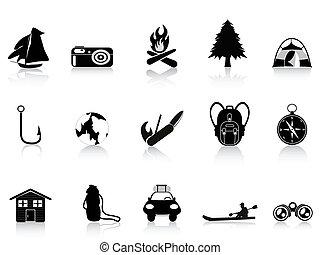negro, aire libre, y, campamento, icono