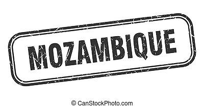 negro, aislado, grunge, mozambique, señal, stamp.