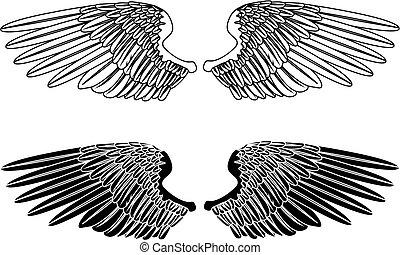 negro, alas, blanco