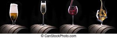 negro, alcohol, bebidas, aislado, conjunto