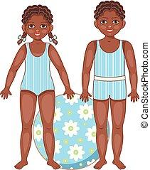 negro, americano africano, niños, en, verano, trajes de baño