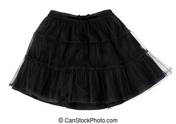 negro, atado, falda