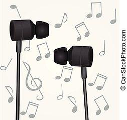 negro, audífonos