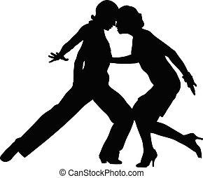 negro, bailando, salón de baile, silueta
