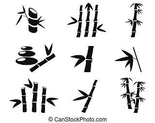 negro, bambú, iconos