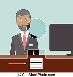 negro, bank., hombre, vector., plano, oficinista