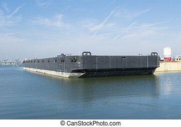 negro, barcaza