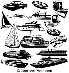 negro, barco, iconos