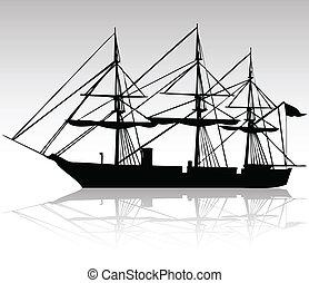 negro, barco, siluetas