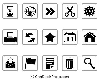 negro, barra de herramientas, y, interfaz, iconos, botones