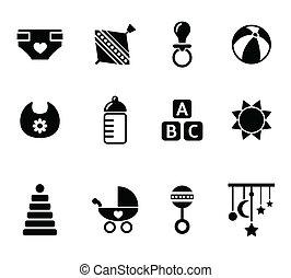 negro, bebé, iconos