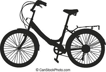 negro, bicicleta, silueta