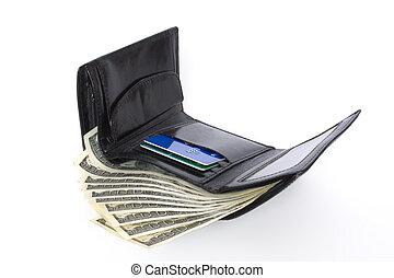 negro, billetera, con, dólares, aislado, blanco, plano de fondo