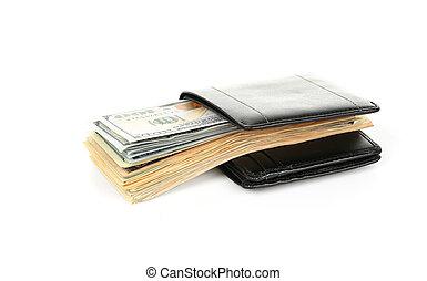 negro, billetera, con, dólares, aislado, en, white.