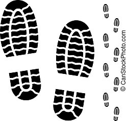 negro, blanco, bota, impresiones