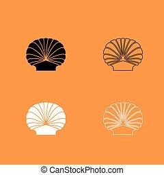 negro, blanco, cáscara, conjunto, icono