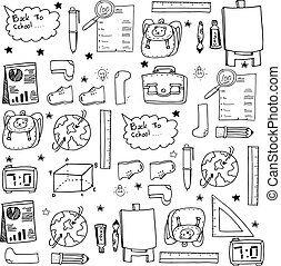 negro, blanco, escuela, educación, doodles