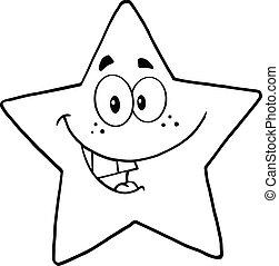 negro, blanco, estrella, sonriente