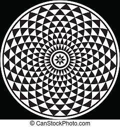 negro, blanco, fractal, circular