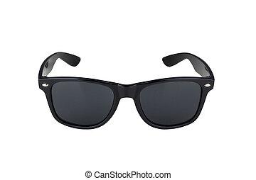 negro, blanco, gafas de sol, aislado